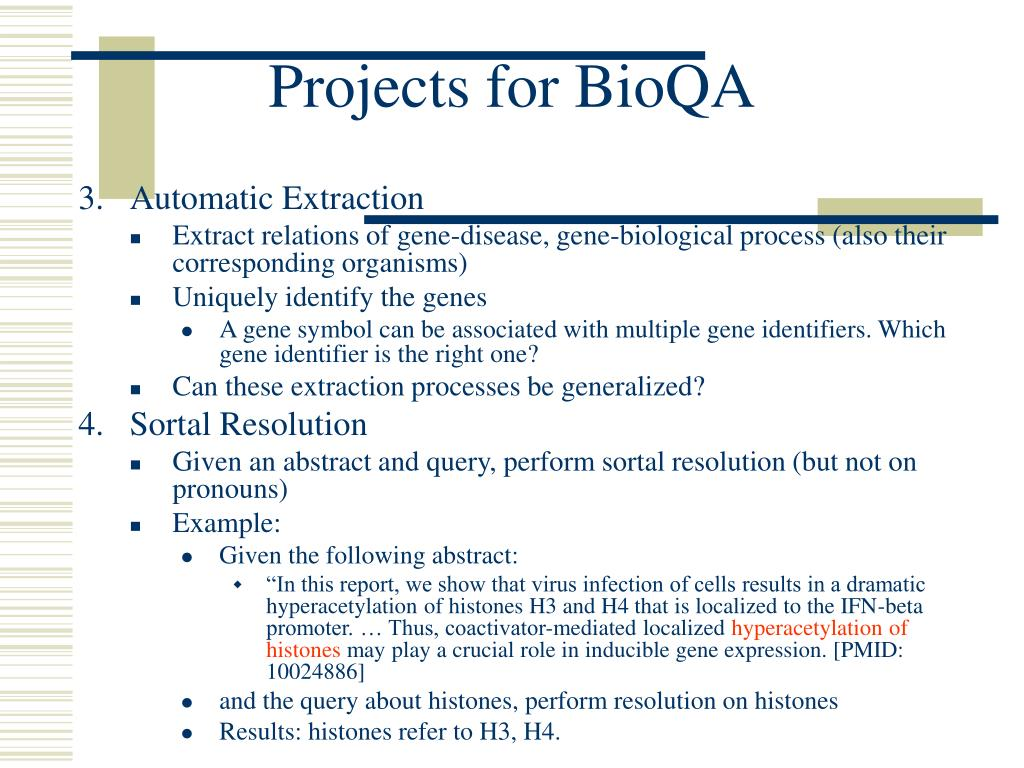 Projects for BioQA