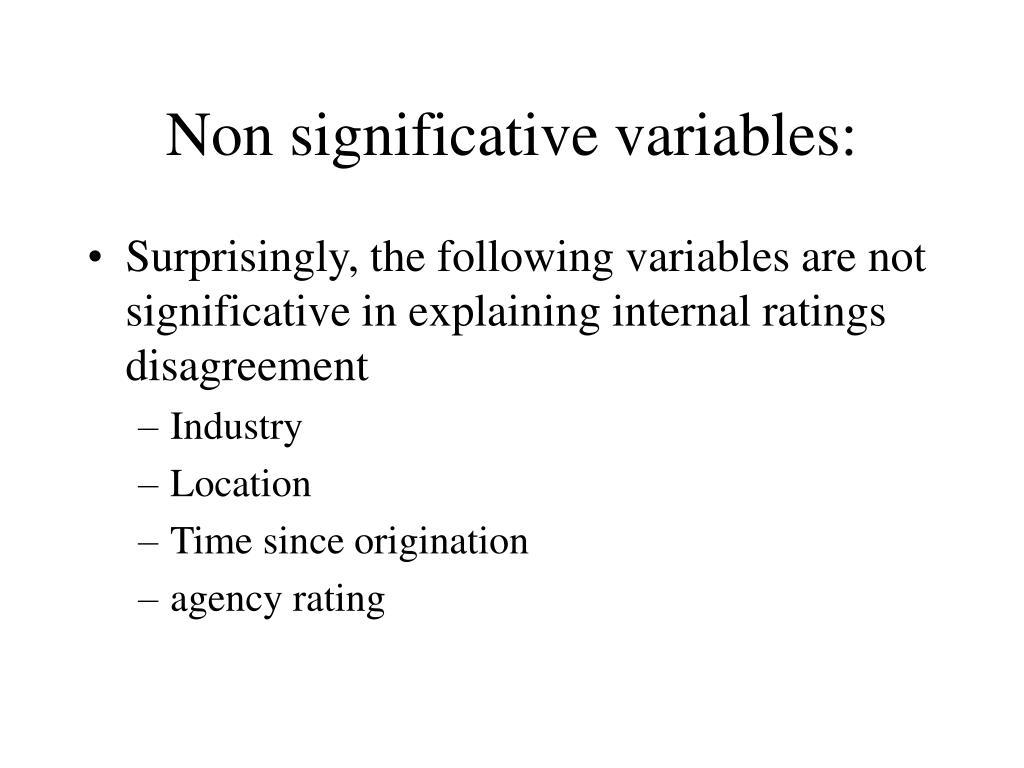 Non significative variables: