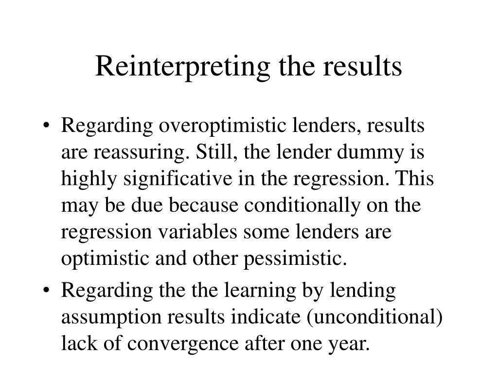 Reinterpreting the results