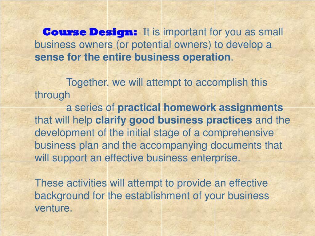 Course Design: