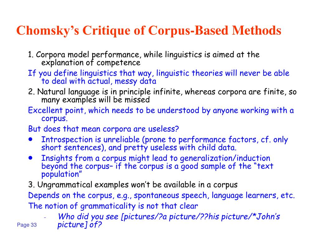 Chomsky's Critique of Corpus-Based Methods