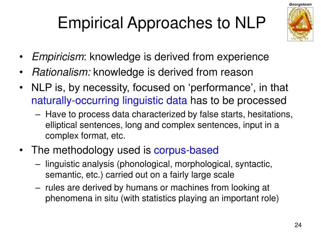 Empirical Approaches to NLP
