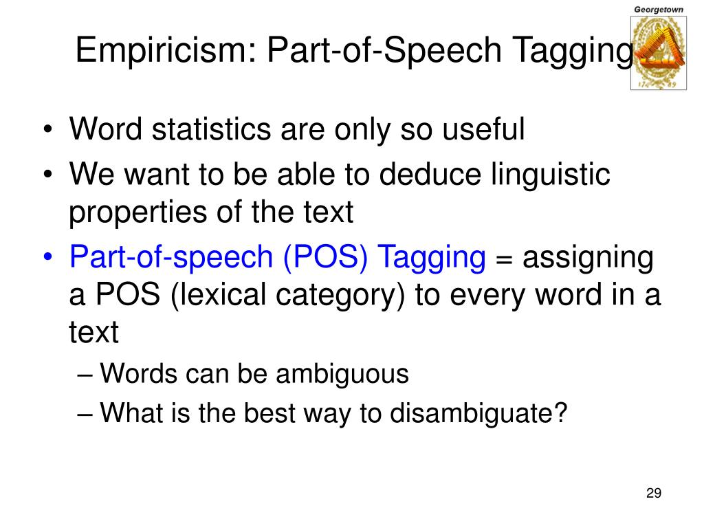 Empiricism: Part-of-Speech Tagging