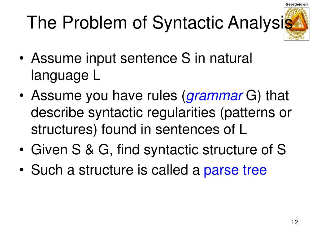 The Problem of Syntactic Analysis