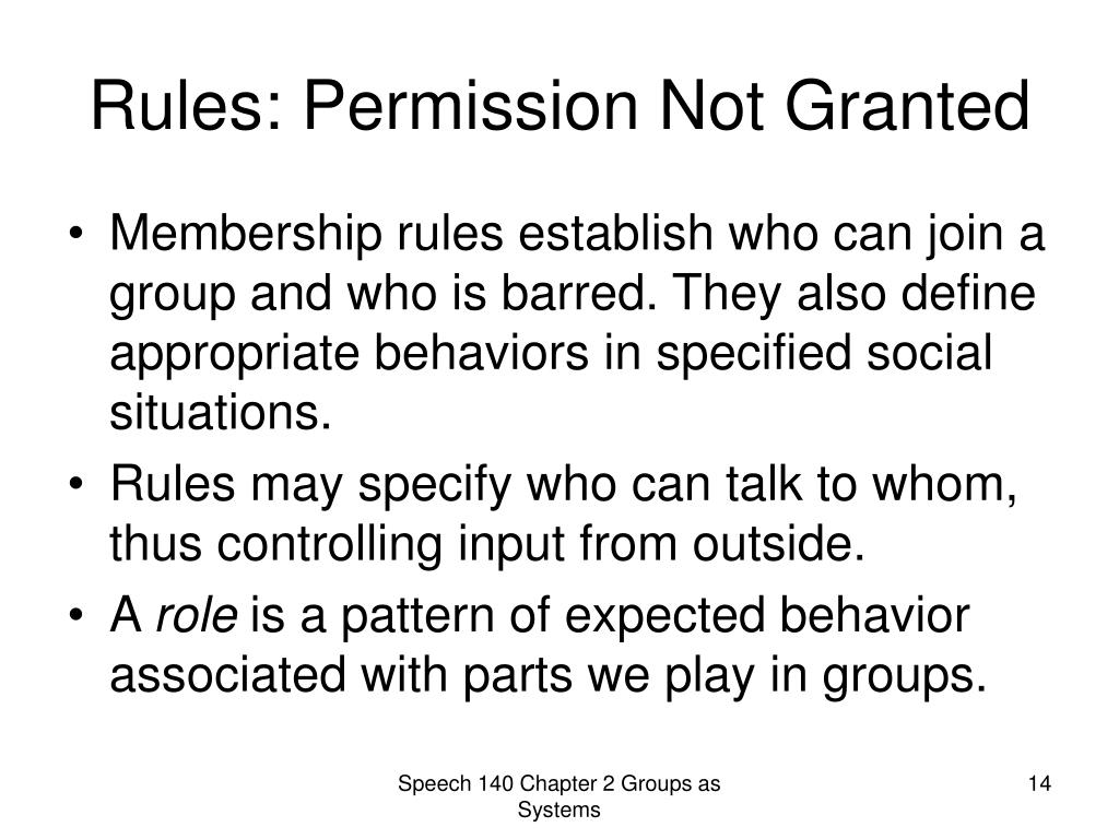 Rules: Permission Not Granted