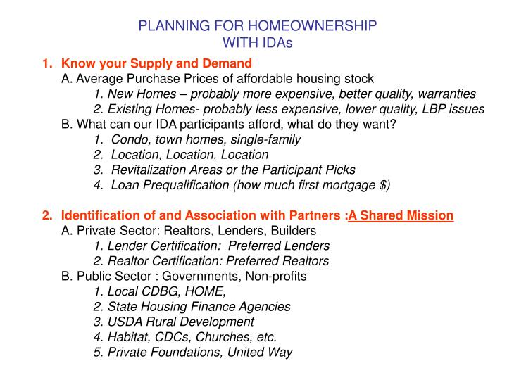 Planning for homeownership with idas