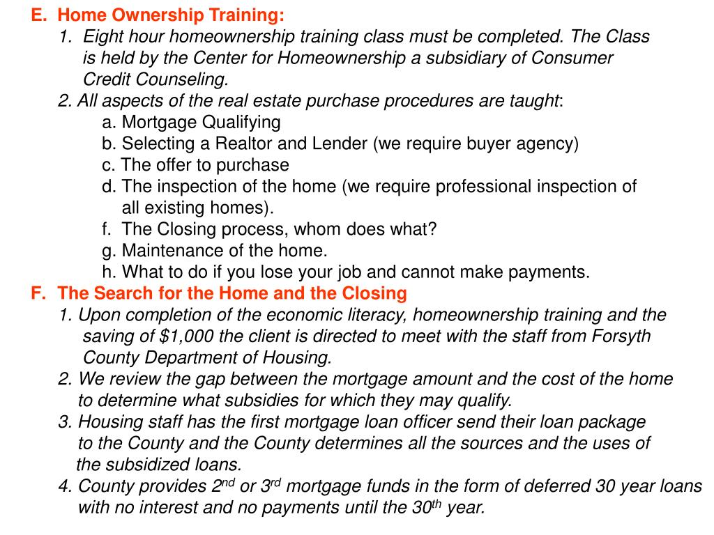 Home Ownership Training: