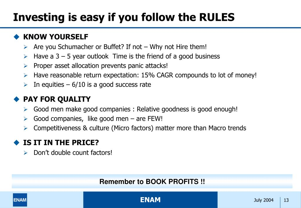 Investing is easy if you follow the RULES