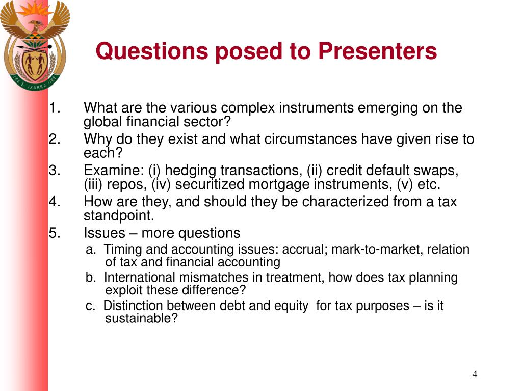 Questions posed to Presenters