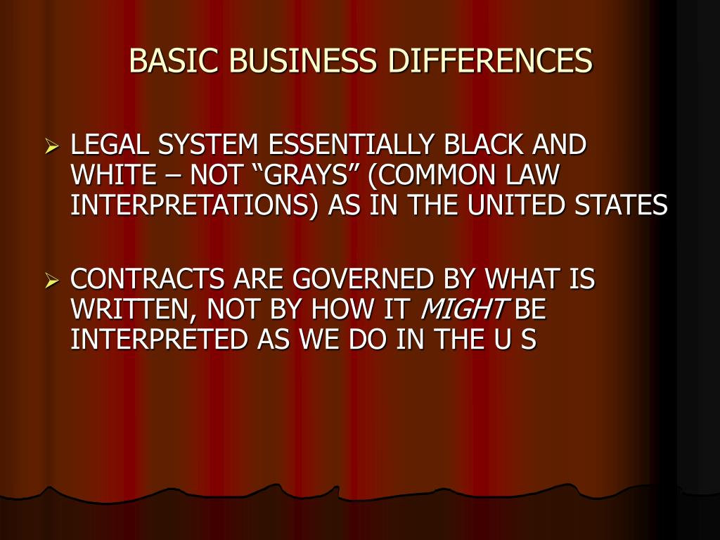 BASIC BUSINESS DIFFERENCES