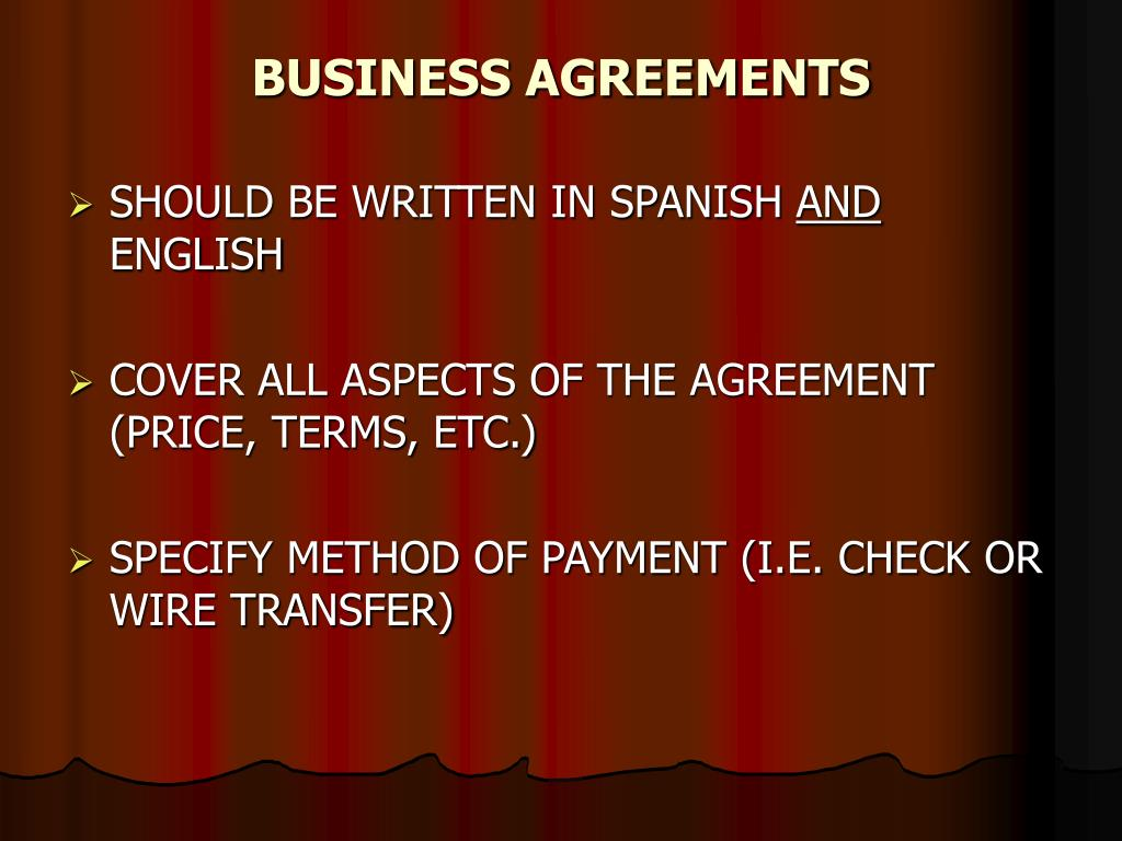 BUSINESS AGREEMENTS