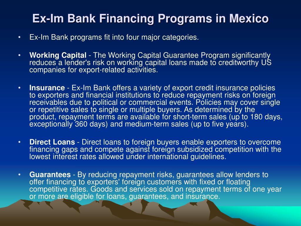 Ex-Im Bank Financing Programs in Mexico