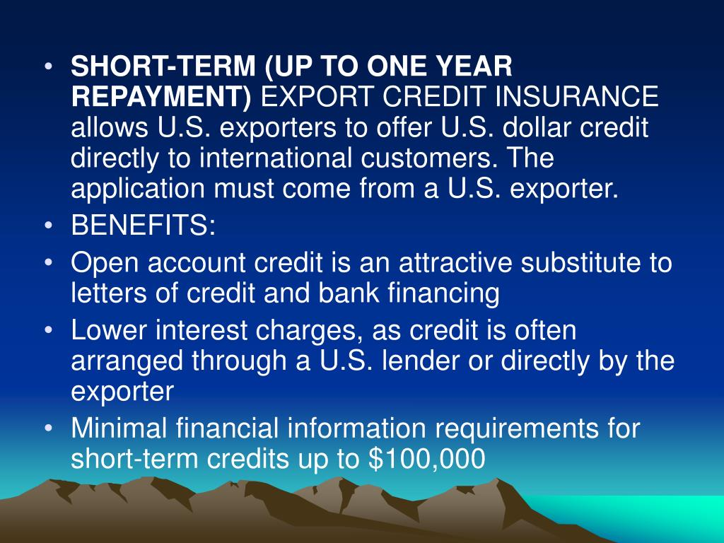 SHORT-TERM (UP TO ONE YEAR REPAYMENT)