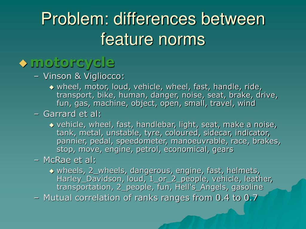 Problem: differences between feature norms