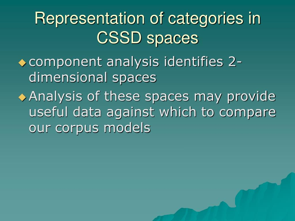 Representation of categories in CSSD spaces