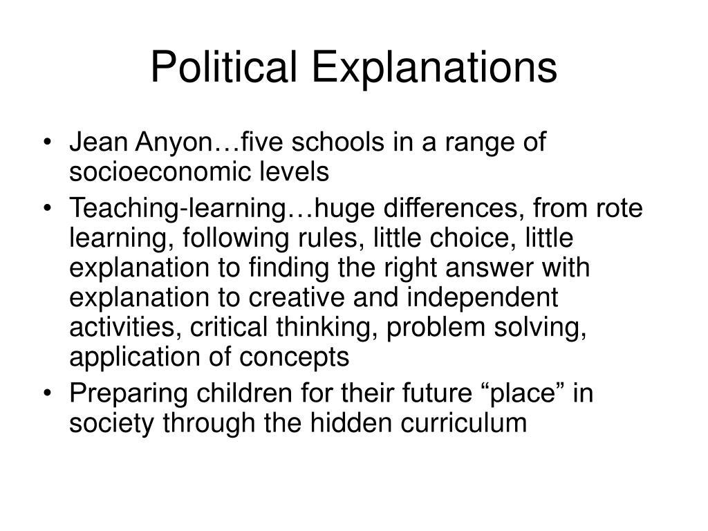 Political Explanations