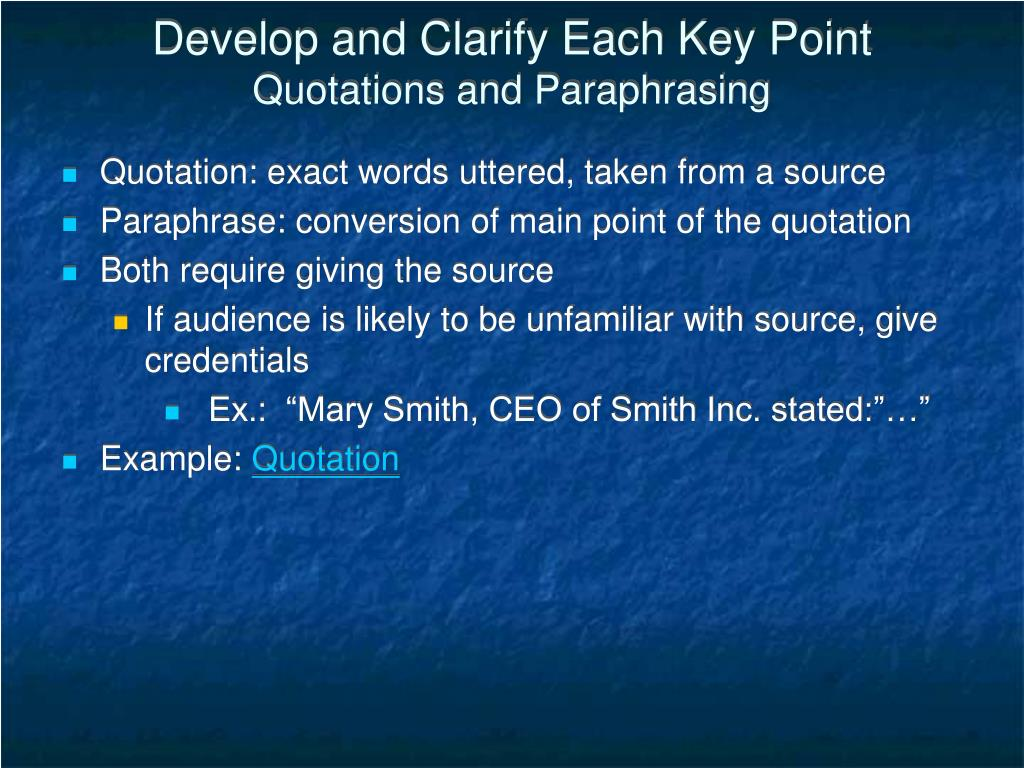 Develop and Clarify Each Key Point