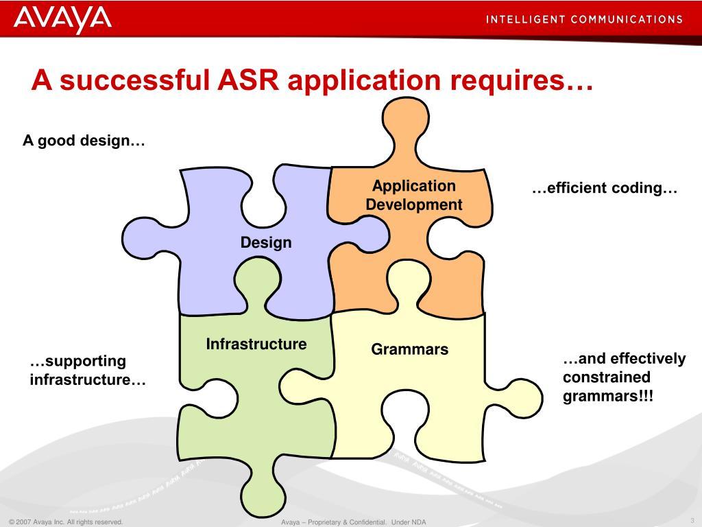 A successful ASR application requires…