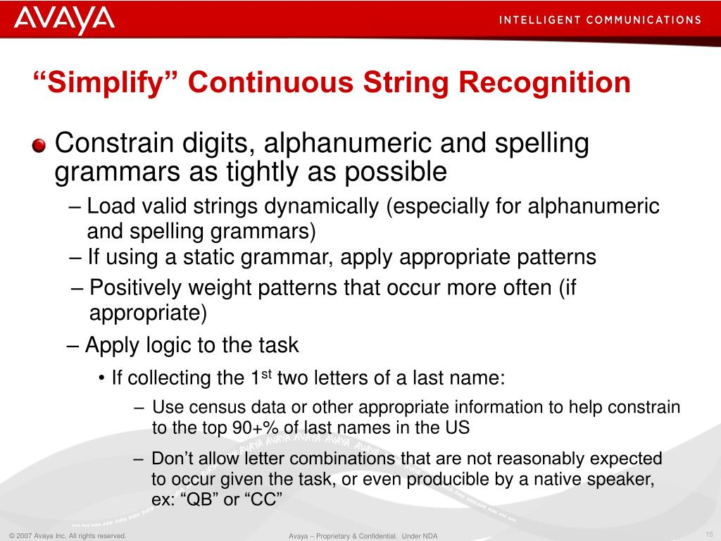 """""""Simplify"""" Continuous String Recognition"""