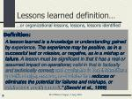 lessons learned definition