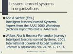 lessons learned systems in organizations