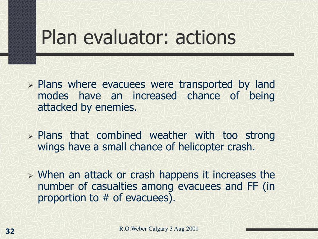 Plan evaluator: actions