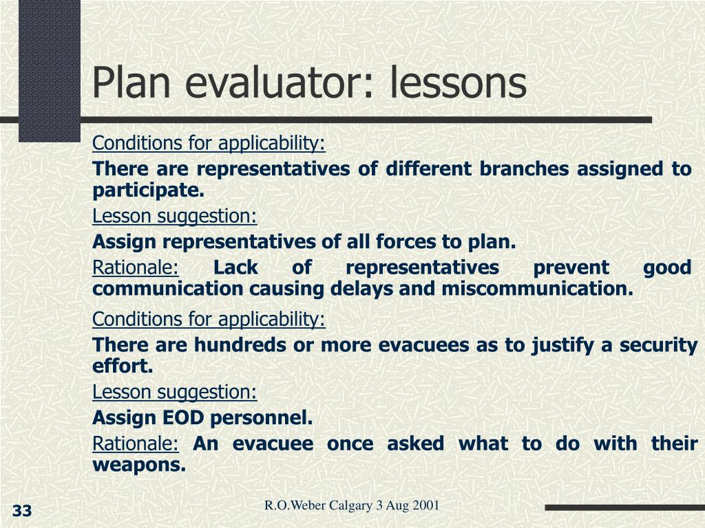 Plan evaluator: lessons