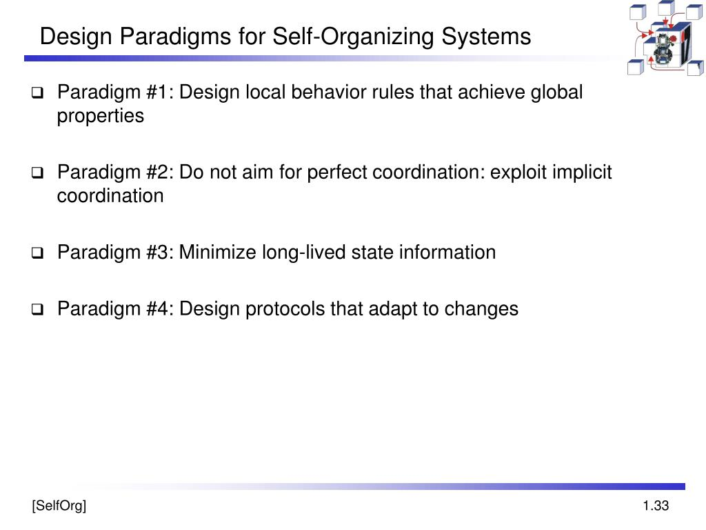 Design Paradigms for Self-Organizing Systems
