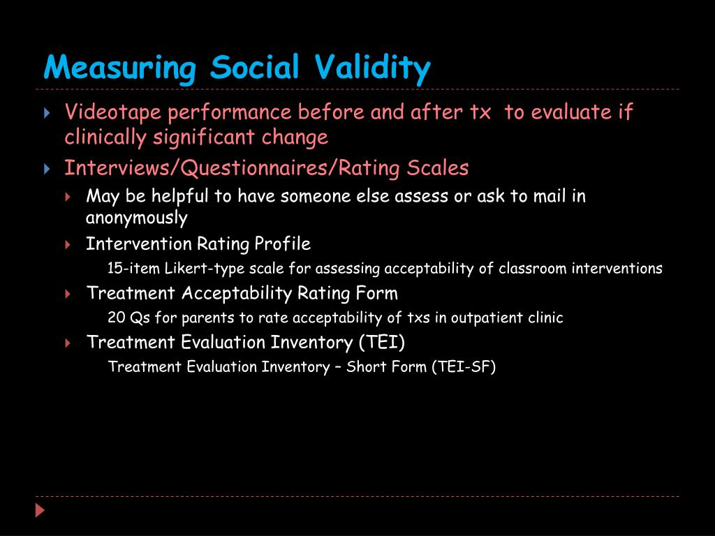 Measuring Social Validity