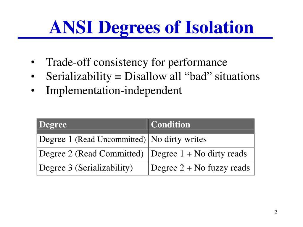 ANSI Degrees of Isolation