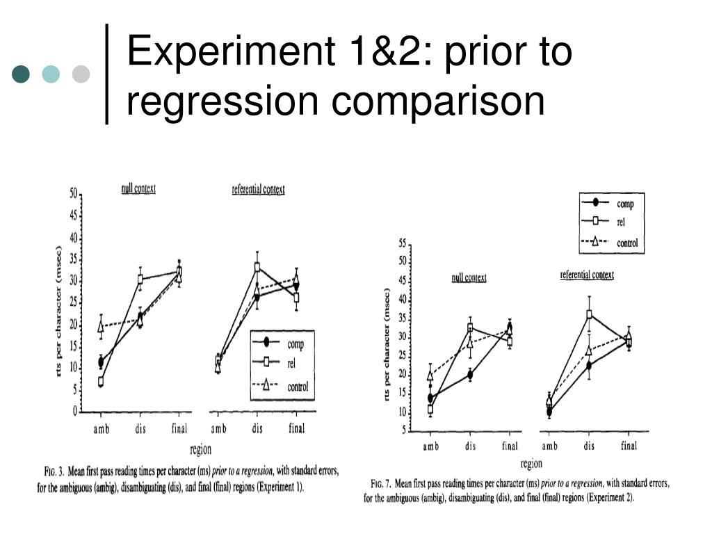 Experiment 1&2: prior to regression comparison
