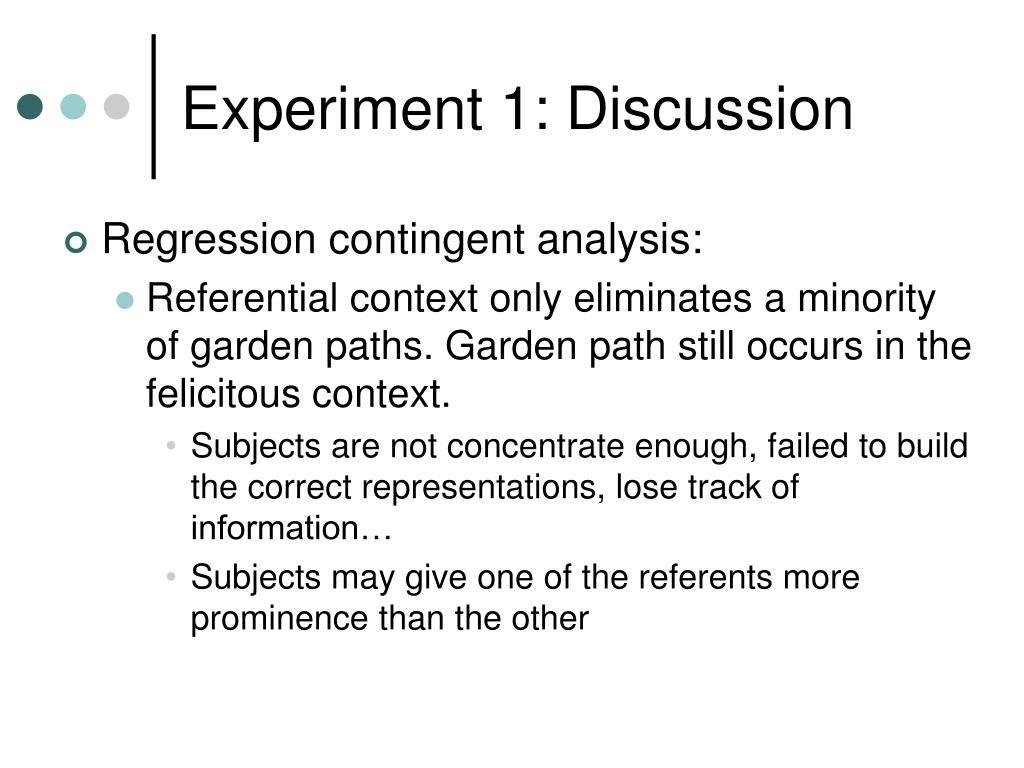 Experiment 1: Discussion