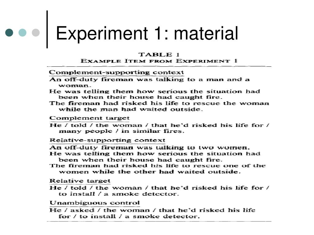 Experiment 1: material