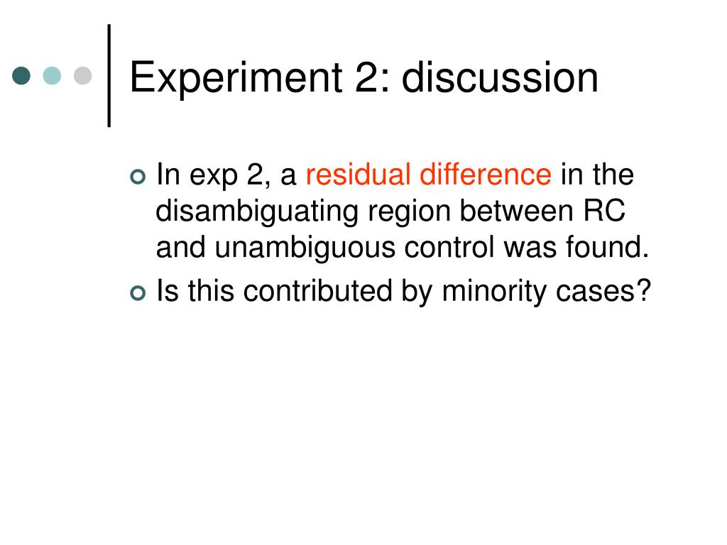 Experiment 2: discussion