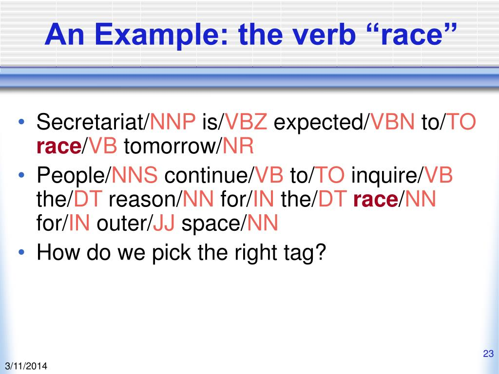 "An Example: the verb ""race"""