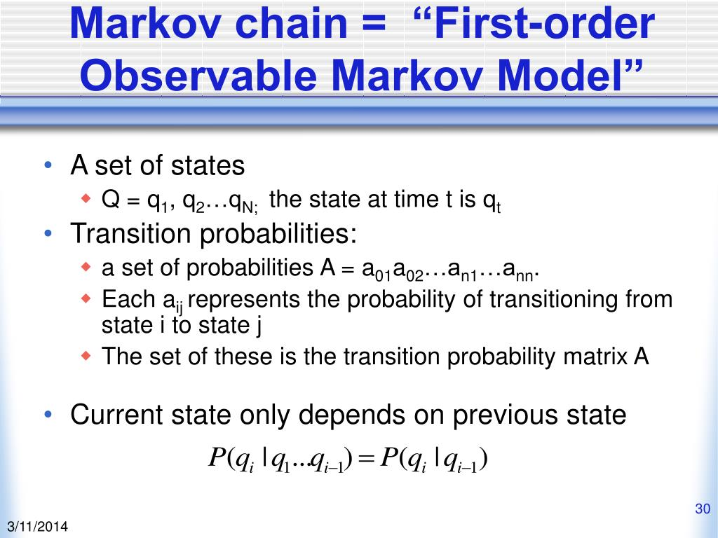 "Markov chain =  ""First-order Observable Markov Model"""