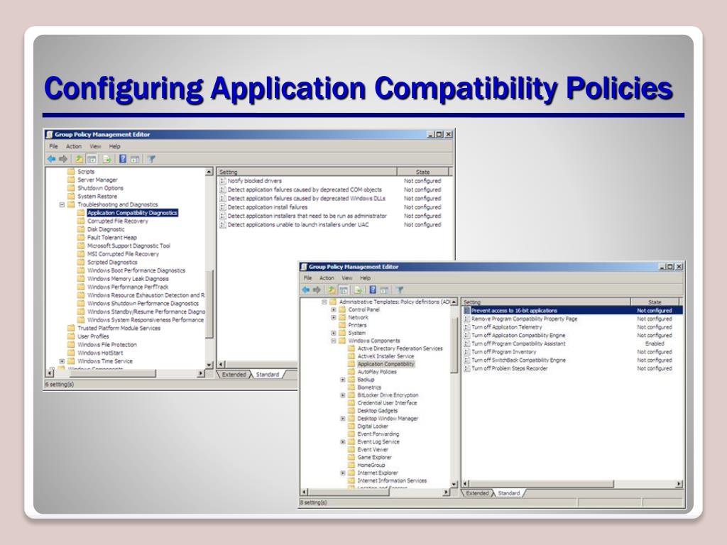 Configuring Application Compatibility Policies