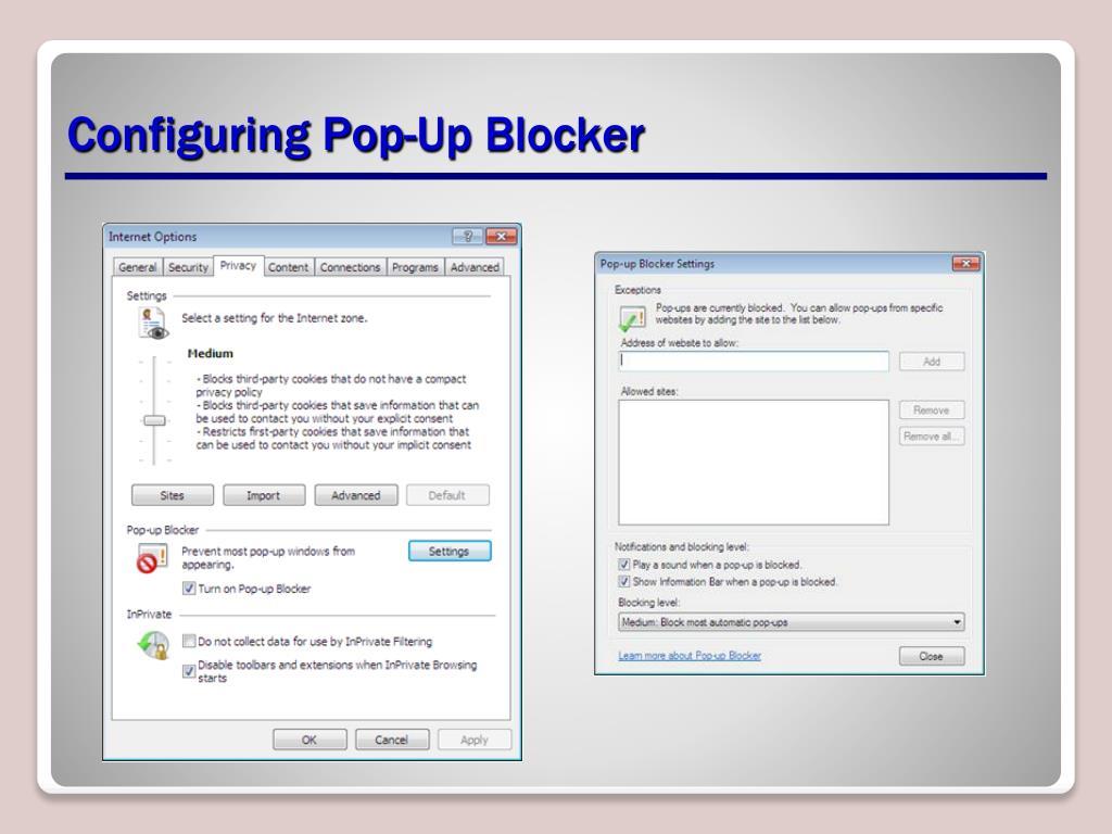 Configuring Pop-Up Blocker