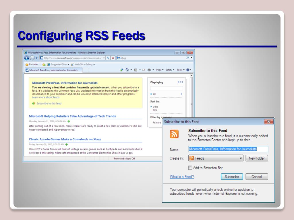Configuring RSS Feeds