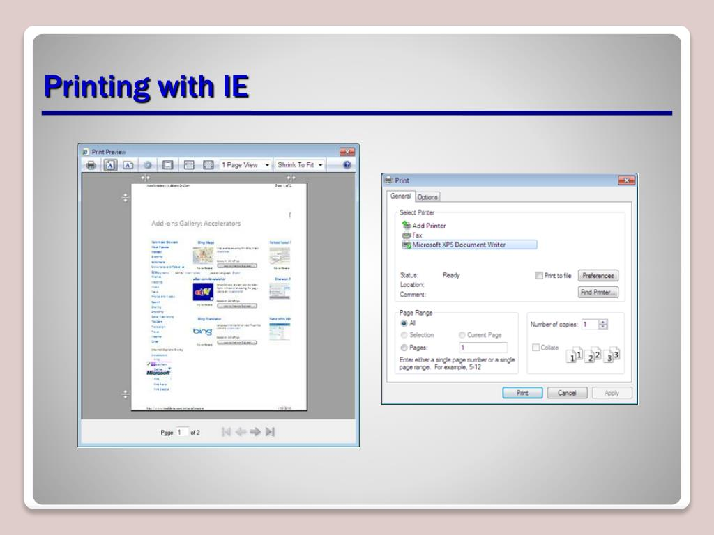 Printing with IE