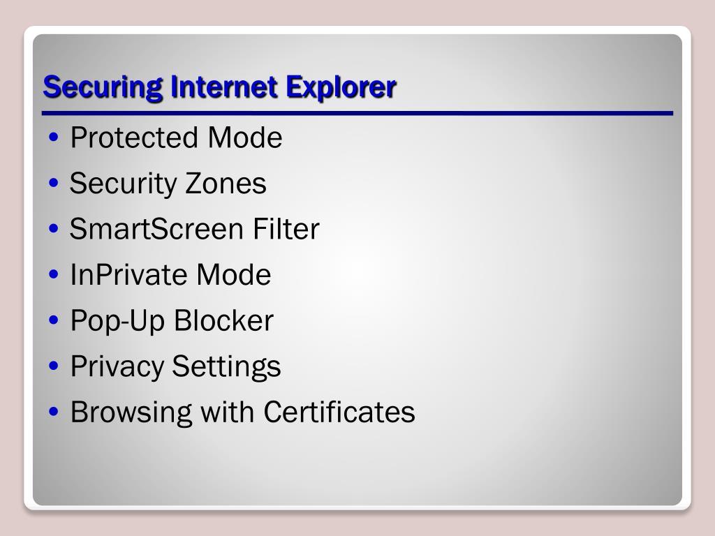 Securing Internet Explorer