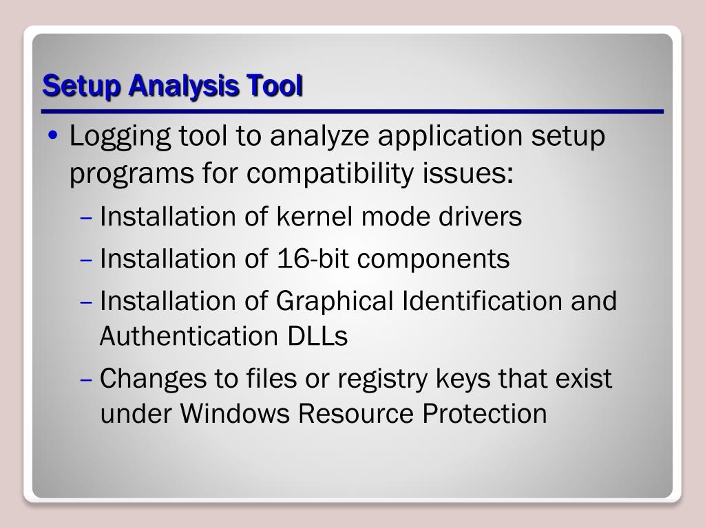 Setup Analysis Tool