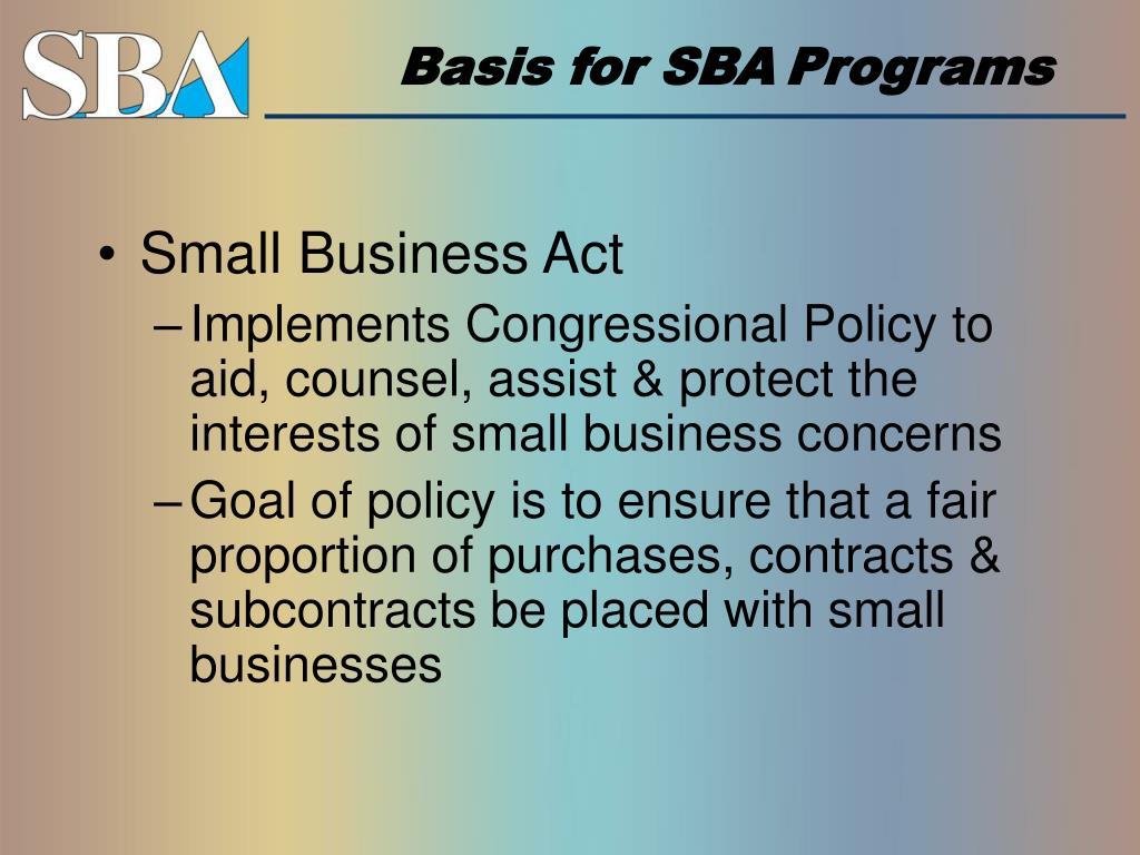 Basis for SBA