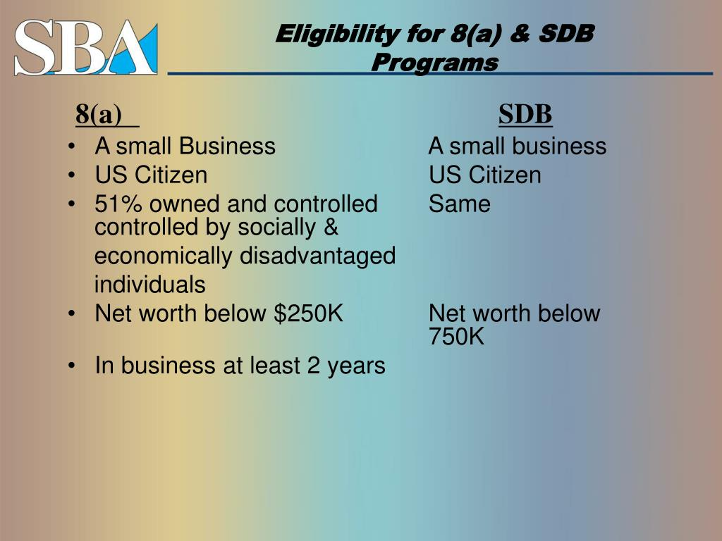 Eligibility for 8(a) & SDB
