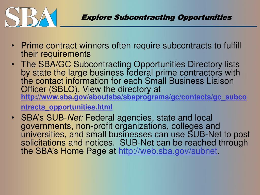 Explore Subcontracting Opportunities