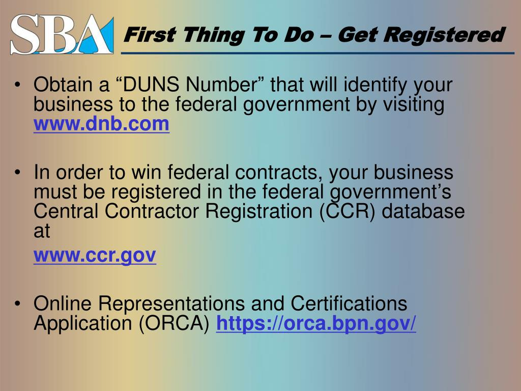 First Thing To Do – Get Registered