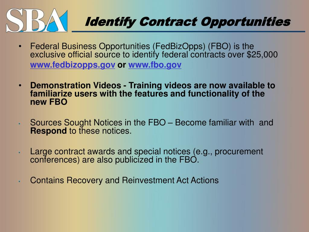 Identify Contract Opportunities