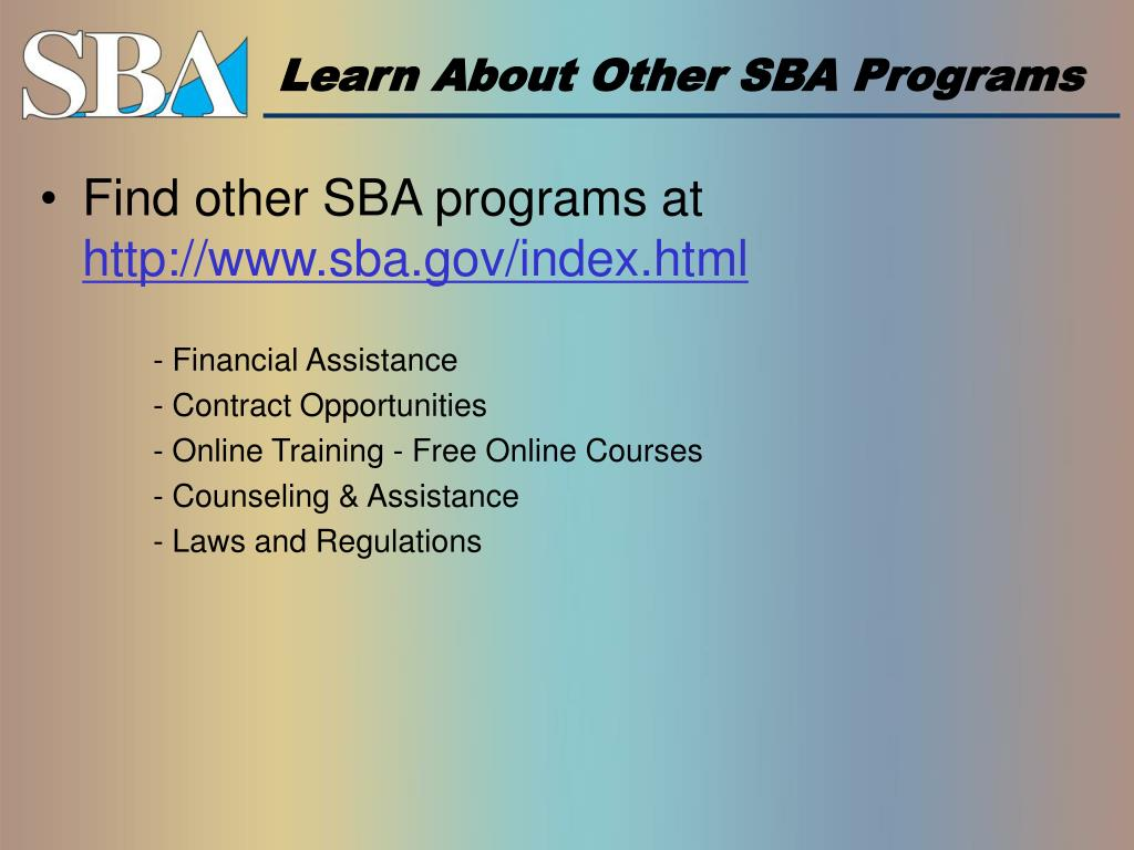 Learn About Other SBA Programs