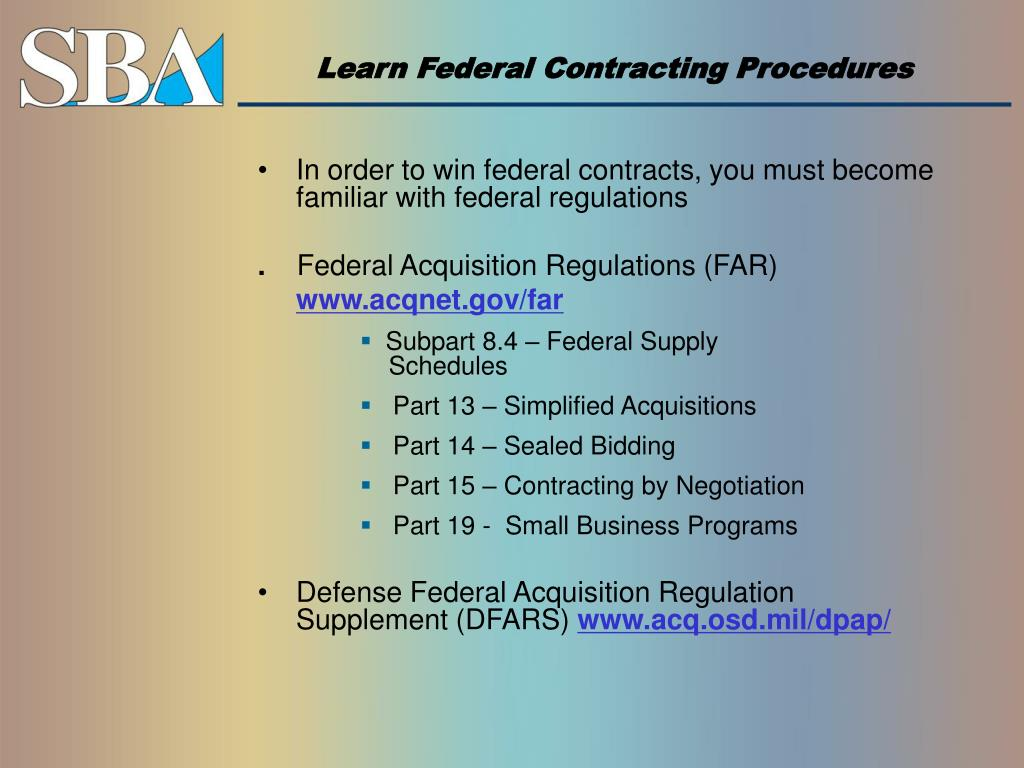 Learn Federal Contracting Procedures