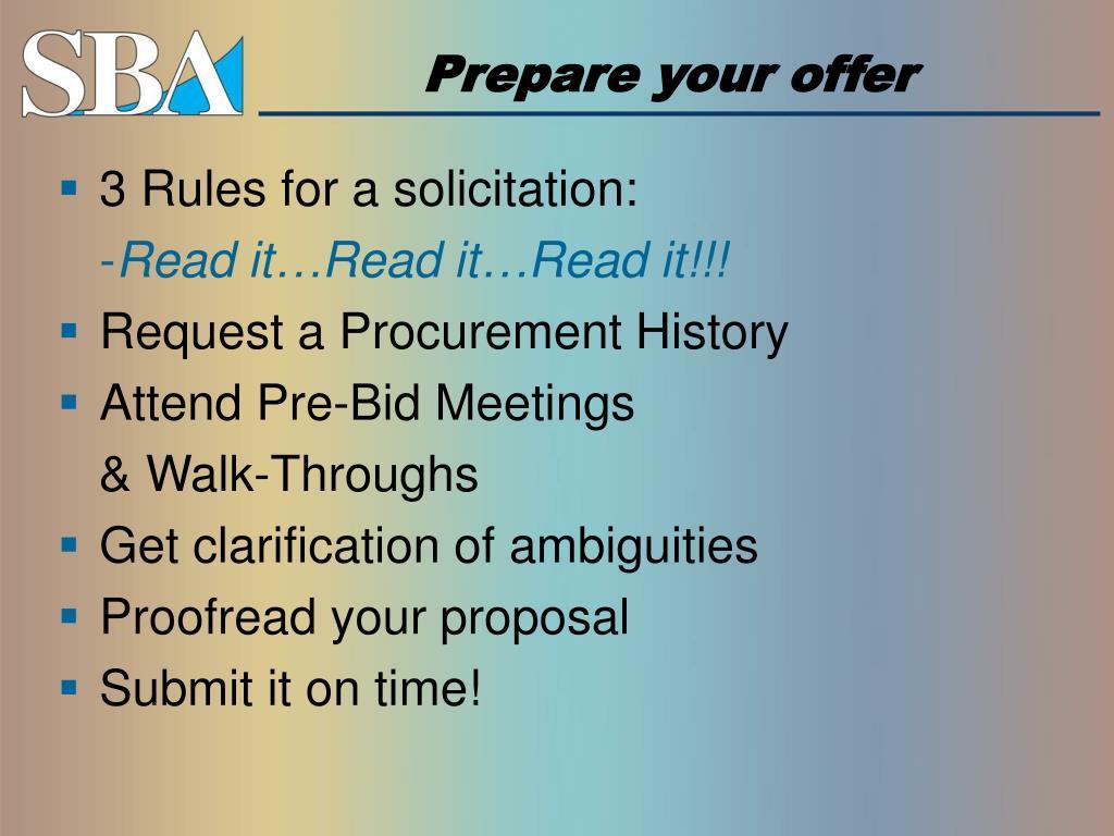 Prepare your offer